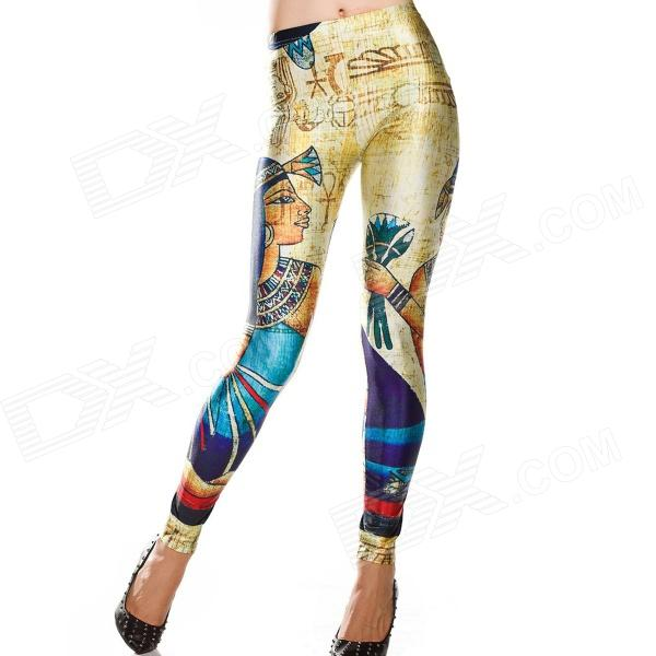 Elonbo Y1A10 Indigenous People Style Digital Painting Tight Leggings - Multicolored (Free Size)