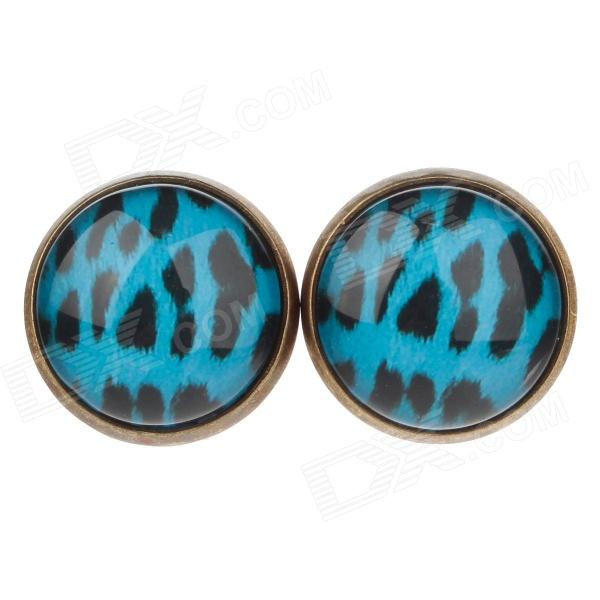 Speckled Pattern Ancient Bronze Ear Studs - Blue + Black (1 pairs) new 7 inch replacement lcd display screen for tesla neon 7 0 a772m tablet pc free shipping