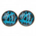 Speckled Pattern Ancient Bronze Ear Studs - Blue + Black (1 pairs)