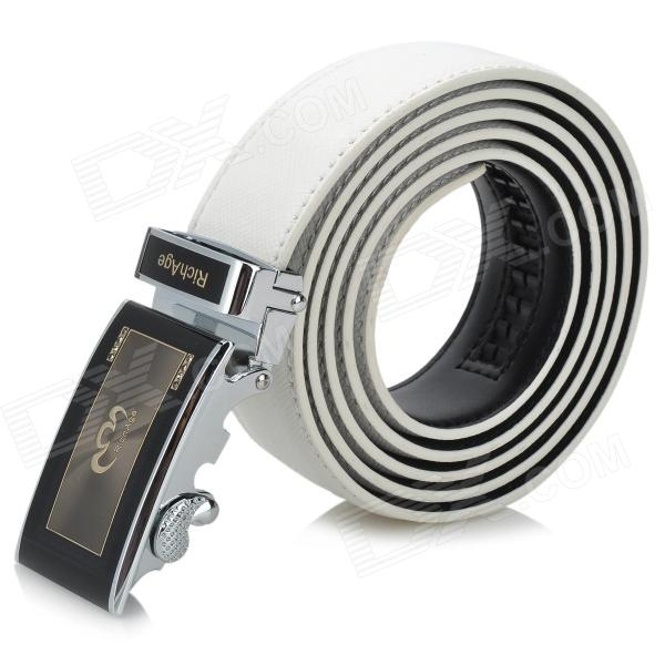 Rich Age Vogue Cross Pattern Men's Cow Split Leather Belt w / Zinc Alloy Automatic Buckle - White pouchkan stylish cow leather men s belt with zinc alloy buckle black