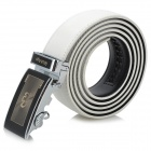 Rich Age Vogue Cross Pattern Men's Cow Split Leather Belt w / Zinc Alloy Automatic Buckle - White