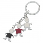 Cute Little Boy Stainless Steel Keychain - Silver + Red + Colorful (2 PCS)