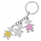 Cute Little Girl Stainless Steel Keychain - Silver + White + Colorful (2 PCS)
