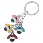 Lovely Cartoon Style Stainless Steel Keychains - Silver + Red + Colorful