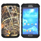 Grass Pattern 2-in-1 Plastic + Silicone Back Case for Samsung i9500 - Black
