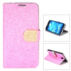 Protective Flip Open PU Case w/ Stand / Card Slots for Samsung S4 - Pink