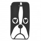 Creative Dog Pattern Flip Open Silicone Case for Iphone 5 / 5s / 5c - Black + White
