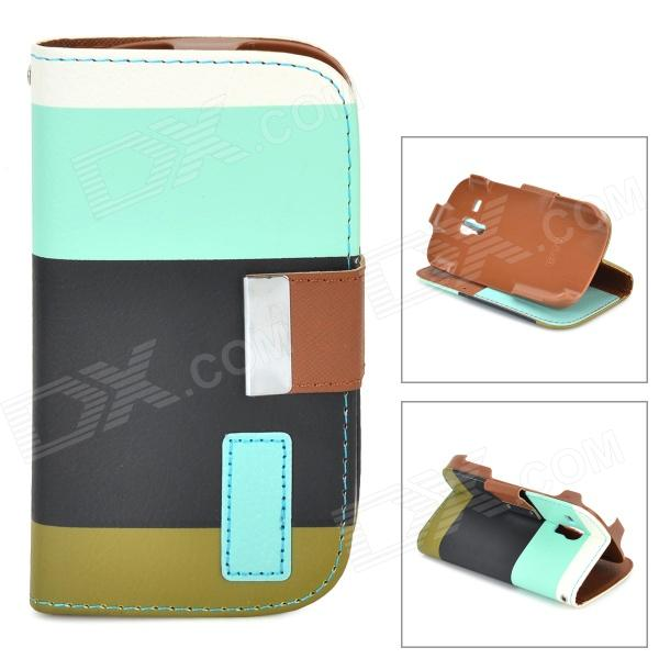 Protective Flip Open PU Case w/ Stand / Card Slots for Samsung Galaxy S3 Mini i8190