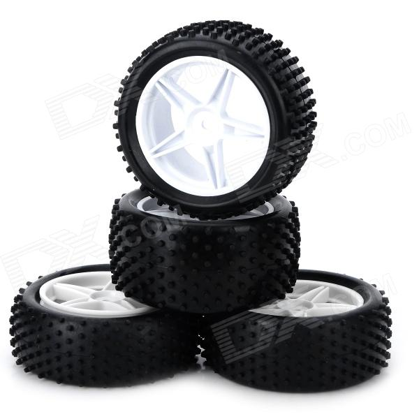 66006-66026 85mm Tyre Set for 1/10 Off-road Car - Black + White (4PCS)