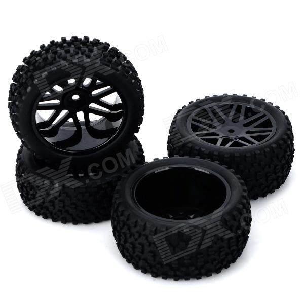 DIY Replacement Rubber Front / Back Wheel Tire for 1:10 Model Car Toy - Black (4 PCS) 1 10 rubber on road racing car model replacement tire black 4 pcs