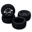 DIY Replacement Rubber Front / Back Wheel Tire for 1:10 Model Car Toy - Black (4 PCS)