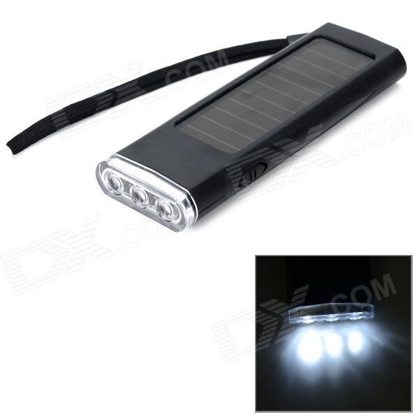 PB800 800mAh Solar Energy Powered Charger w/ 3-LED Flashlight - Black + Transparent