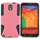 Mesh Style Protective Plastic + TPU Back Case for Samsung Galaxy Note 3 N9000 - Black + Pink