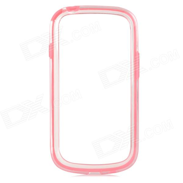 Protective TPU + PVC Bumper Frame for Samsung Galaxy S3 Mini i8190 - Deep Pink + Transparent and22 protective plastic bumper case for samsung galaxy s3 mini i8190 white transparent