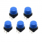 Jtron 12 x 12mm OFF-(ON) 4-pin Touch Switch Button w/ Blue Round Key Caps - Black + Blue (5 PCS)