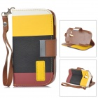 Protective PU Leather Case for Samsung Galaxy S3 Mini i8190 - Black + Yellow + Brown