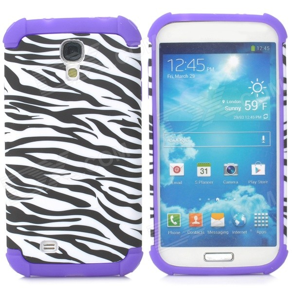 Zebra Pattern 2-in-1 Plastic + Silicone Back Case for Samsung i9500 - Purple + Black + White