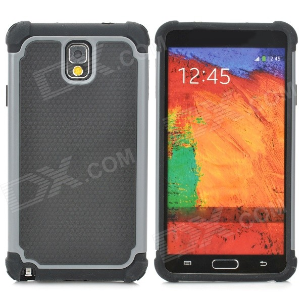 2-in-1 Protective Plastic + TPU Back Case for Samsung Galaxy Note 3 N9000 - Grey + Black 2 in 1 detachable protective tpu pc back case cover for samsung galaxy note 4 black