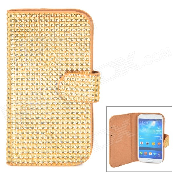 Protective Flip Open PU Case w/ Card Slots for Samsung S4 - Golden statue of liberty pattern protective pu flip open case w strap card slots for samsung galaxy s5