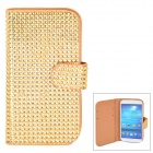 Protective Flip Open PU Case w/ Card Slots for Samsung S4 - Golden