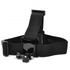 T01K Plastic + Nylon + Stainless Steel Head Belt w/ Mount Adapter for Gopro / Sony + More - Black