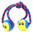 Doglemi Double Ball Style Cotton Rope Tooth Cleaning Toy for Cat Dog Pet - Yellow + Blue