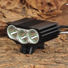 ZHISHUNJIA ZSJ-3*U2 3-LED 2200lm 4-Mode White Bicycle Headlamp w/ Tail Warn Light - Black