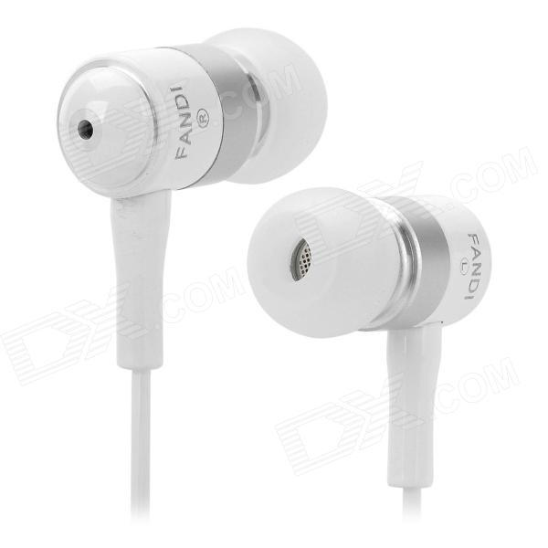 FANDI-A Universal 3.5mm Jack Wired In-ear Headset for MP3 / Cellphone / PC - White keeka ka 21 stylish shell shaped universal 3 5mm jack wired in ear headset silver white