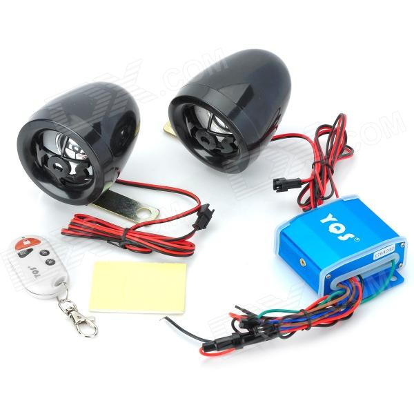YQS NST-A8028 Mini MP3 Player + Anti-theft Alarm Speaker Set for Motorcycle - Black + Blue