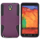 Mesh Style Protective Plastic + TPU Back Case for Samsung Galaxy Note 3 N9000 - Black + Purple