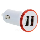 Universal Portable Dual USB 2.0 Output Car Charger w/ LED Indicator - White + Red (12~24V)