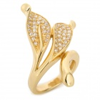 R97541G Leaf Style Copper + K-Gold + Zircon Ring - Golden