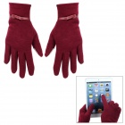 Capacitive Screen Touching Stretch Cotton Hand Warmer Gloves for Women - Dark Red