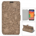 Leaves Style Protective PU Leather Case for Samsung Galaxy Note 3 N9000 - Brown