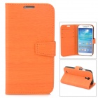 Bark Grain Style Protective PU Leather Case for Samsung Galaxy S4 i9500 - Orange