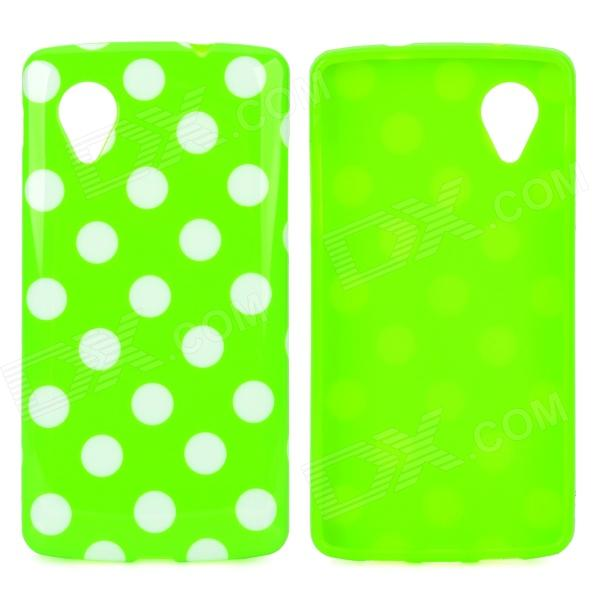 Polka Dot Style Protective Silicone Back Case for LG Nexus 5 - Green + White protective silicone back case for lg nexus 5 translucent white