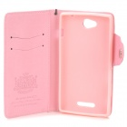 Protective PU Leather + TPU Case w/ Card Holder Slots / Hand Strap for Sony Xperia C S39h - Pink