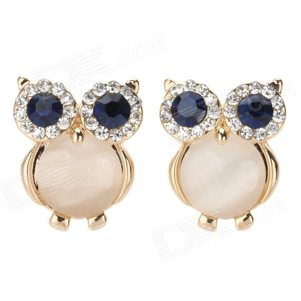 Cute Owl Style Zinc Alloy + Rhinestone Earrings - Dark Blue + Golden (Pair) women s fashion tassel style zinc alloy earrings golden silver pair