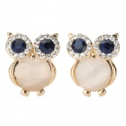 Cute Owl Style Zinc Alloy + Rhinestone Earrings - Dark Blue + Golden (Pair)