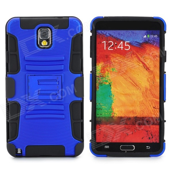 Protective Hard Plastic Back Case w/ Stand for Samsung Galaxy Note 3 N9000 - Dark Blue + Black pudini wb note 3 protective pc back case for samsung galaxy note 3 white