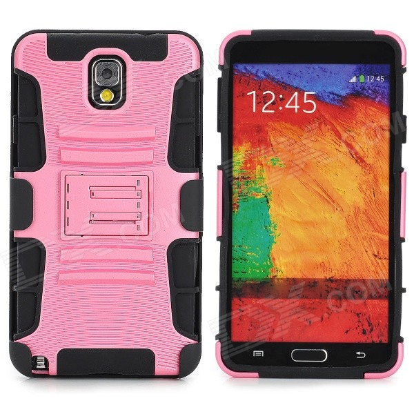 Protective Plastic + TPU Back Case w/ Stand for Samsung Galaxy Note 3 / N9000 - Light Pink + Black enkay protective tpu back case w holder stand for samsung galaxy note 3 n9000 pink