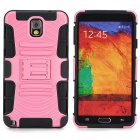 Protective Plastic + TPU Back Case w/ Stand for Samsung Galaxy Note 3 / N9000 - Light Pink + Black