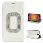 Fashion Luxury Crystal PU Leather Case for Samsung Galaxy Note 3 - White + Black