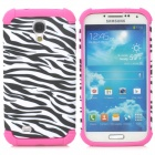 2-in-1 Zebra Pattern Protective Plastic + TPU Back Case for Samsung S4 i9500 - White + Deep Pink