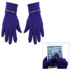 Capacitive Screen Touching Stretch Cotton Hand Warmer Gloves for Women - Orchid