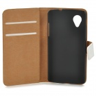 Protective Genuine Leather Case w/ Card Holder Slots for LG Nexus 5 - White