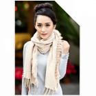 Xueligesi Pure Color Dry Acrylic Sleeveless Shawls Scarf - Beige