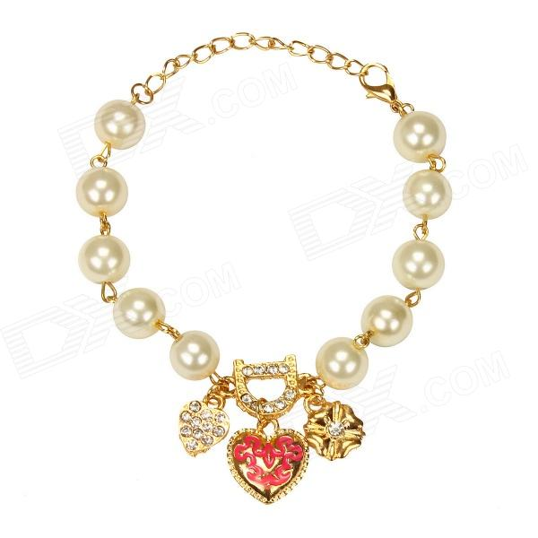 EQute BPEW29C1 Vintage Lovely Heart / Flower Pearl Bracelet - White + Golden (9) equte vintage golden flower pendant artificial pearl necklace white golden