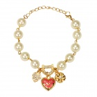 "EQute BPEW29C1 Vintage Lovely Heart / Flower Pearl Bracelet - White + Golden (9"")"