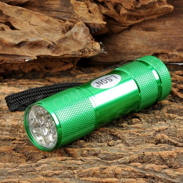 LSON MY-320 1W 9-LED 10lm 1-Mode White Flashlight - Green (3 x AAA)